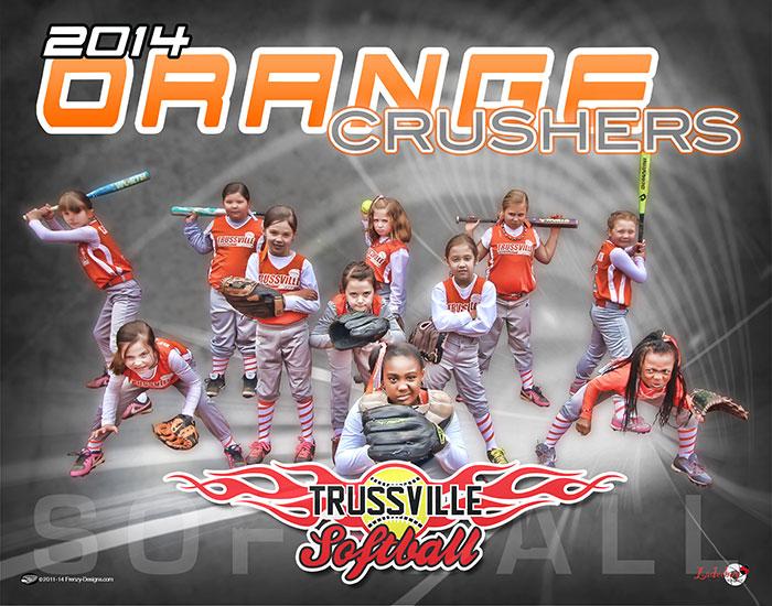 Custom softball poster orange crushers for Softball poster ideas