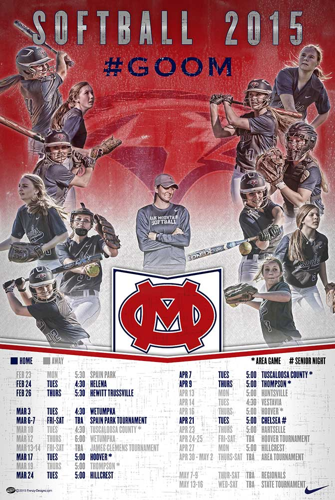 Custom Softball Schedule Poster - Oak Mountain