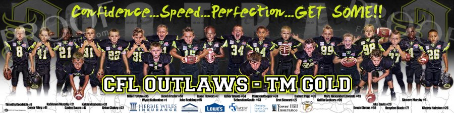 Banner -  2018 OUTLAWS- Tiny Mite Gold Football