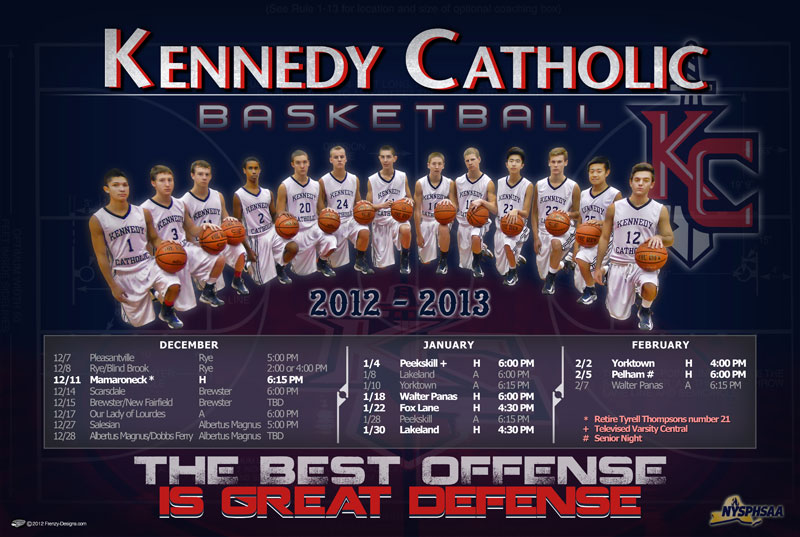 custom basketball poster kennedy catholic schedule 2012 13