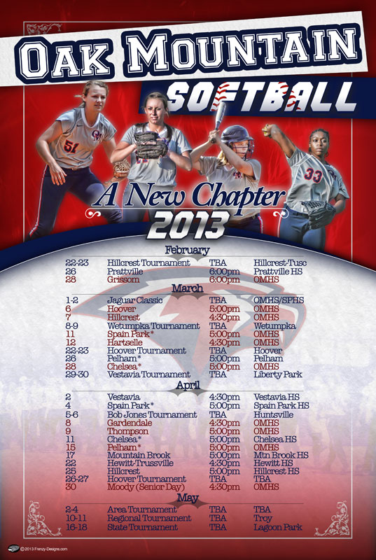 Custom softball schedule poster oak mountain custom sports posters personalized team for Softball poster ideas