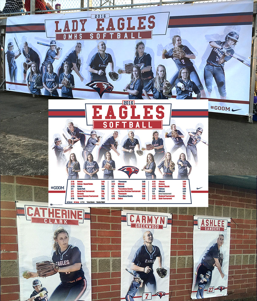 Custom Softball Banners - Oak Mountain Eagles